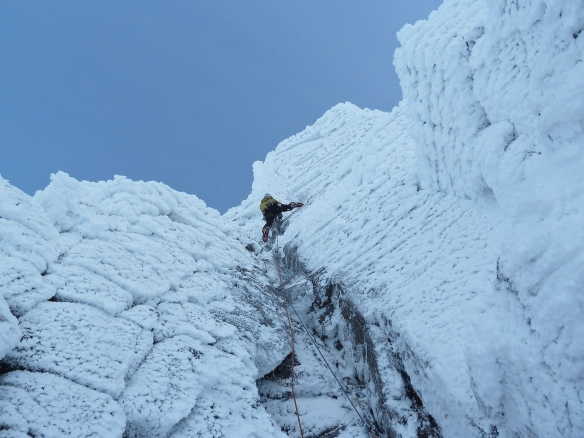 Sand Simpson on top pitch of Auricle in stunning conditions