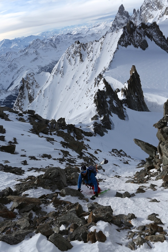 Michelle Blaydon scrambling towards Dent de Geant