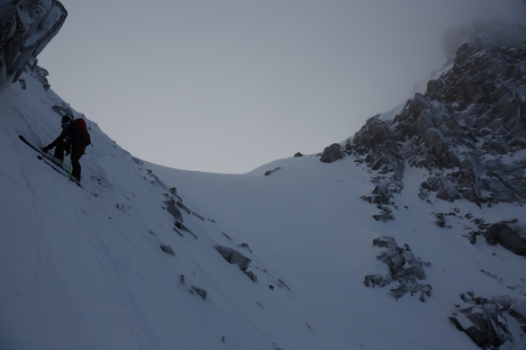 entry into Dent Jaune Couloir