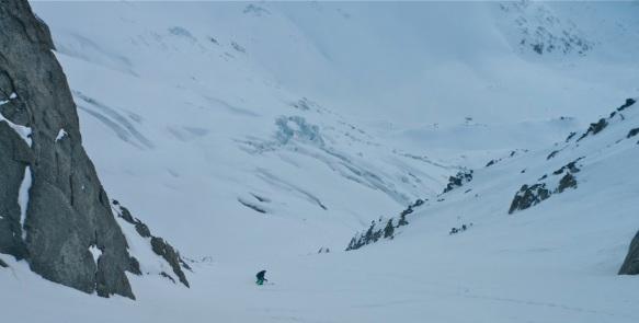 Ross Hewitt skiing Croulante Couloir