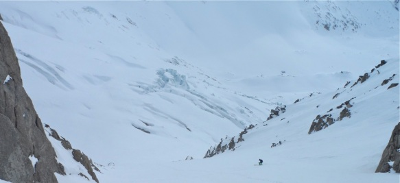 Ross Hewitt skiing Croulante Couloir Les Courtes
