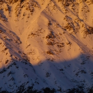 My tracks on South Face of Courtes after negotiating full depth avalanche.