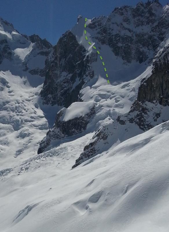 aiguille amone north east face ski descent topo ross hewitt