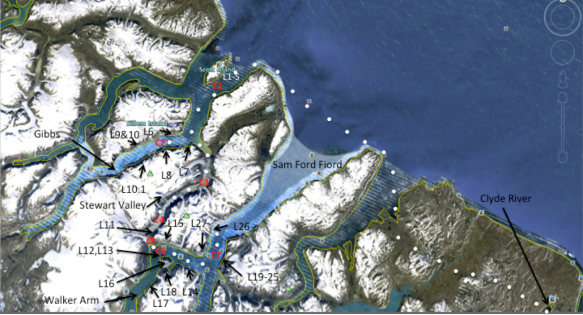 Baffin route canps and lines