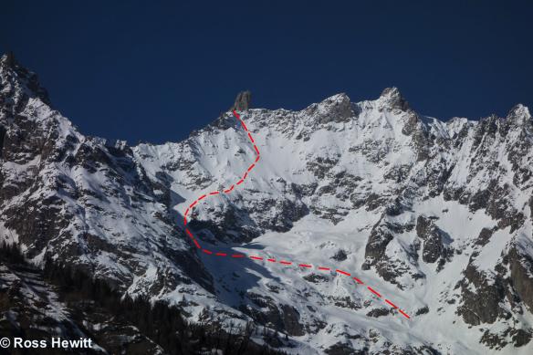 dent-de-geant-south-face-route ski topo ross hewitt