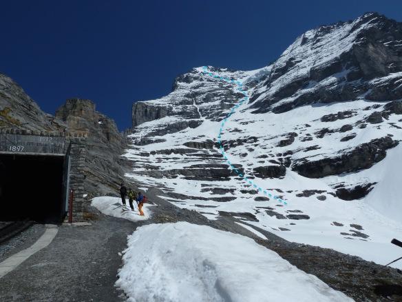eiger west face ski descent topo ross hewitt