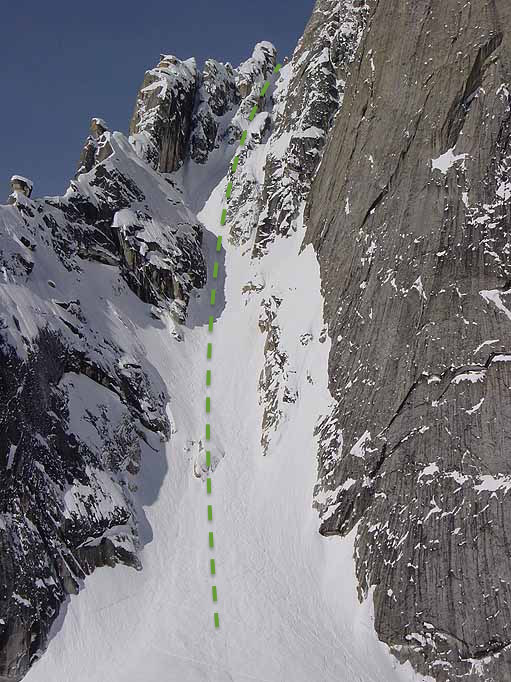ski descent of japanese couloir mt dickey routh gorge topo ross hewitt